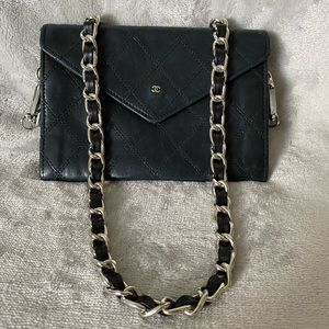 Authentic Vintage Chanel Lamb Skin Wallet on Chain